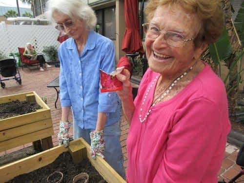 The Residents at The Oaks of Clearwater love spending time gardening in the sunshine!
