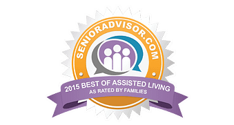 "Image of an award presented to The Oaks for the ""Best of Assisted Living as Rated by Families"""